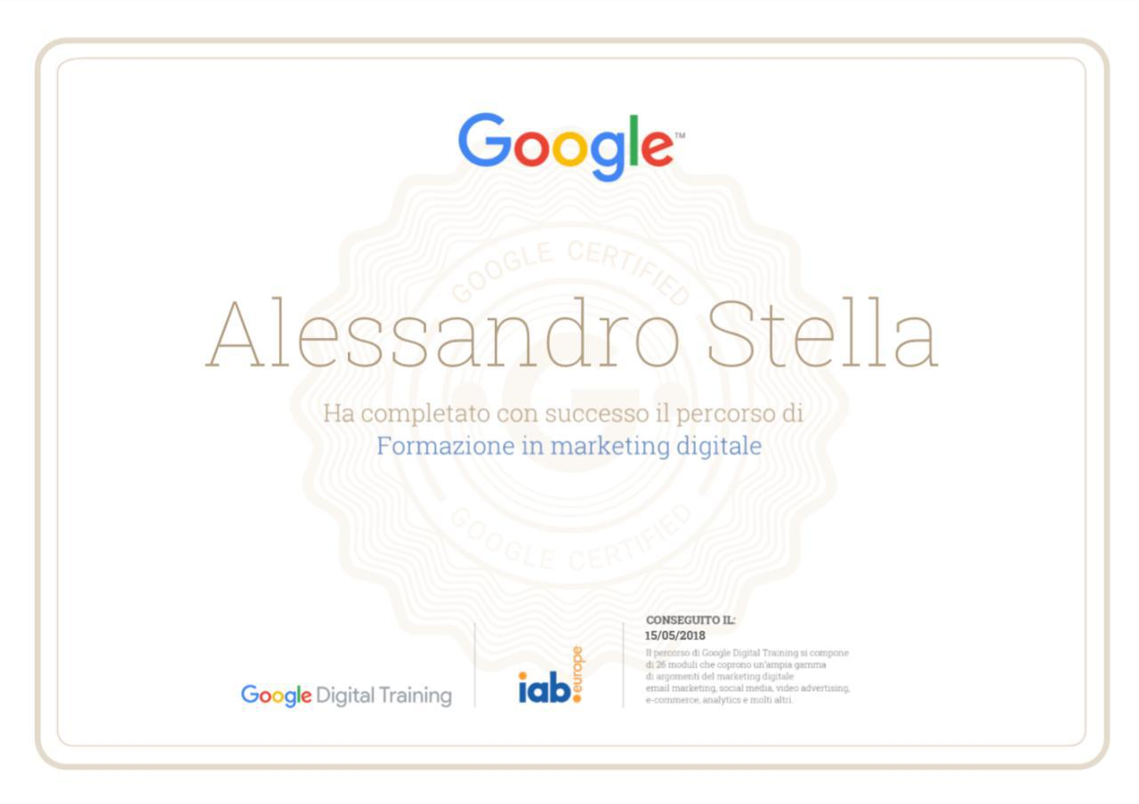 Certificato Google Digital Marketing